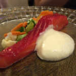 Warm confit ocean trout, autumn vegetable a la grecque, horseradish mayonnaise